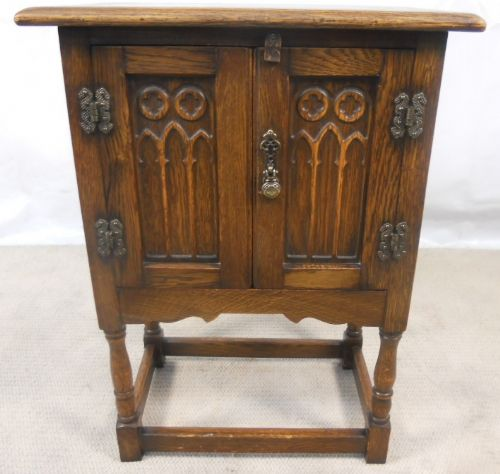 Antique Tudor Style Oak Bedside Cabinet - SOLD